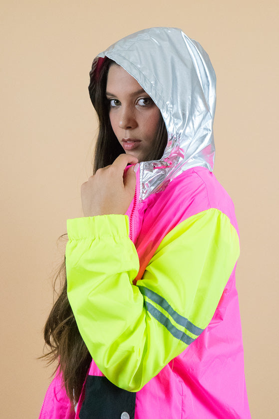 Silver hooded Neon Pink and Green Jacket