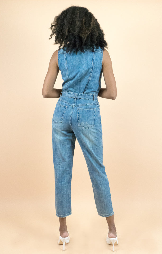 Sleeveless Buttoned front Denim Jumpsuit