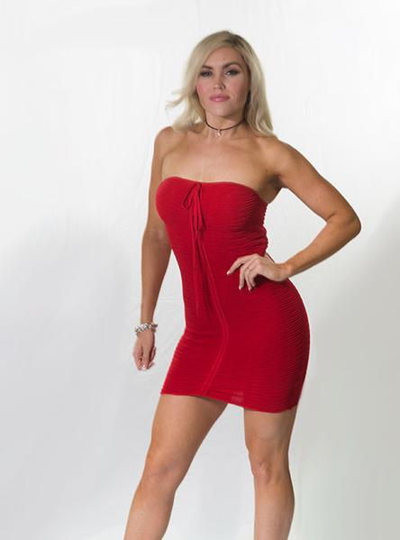 Strapless Red Knitted Bodycon Dress