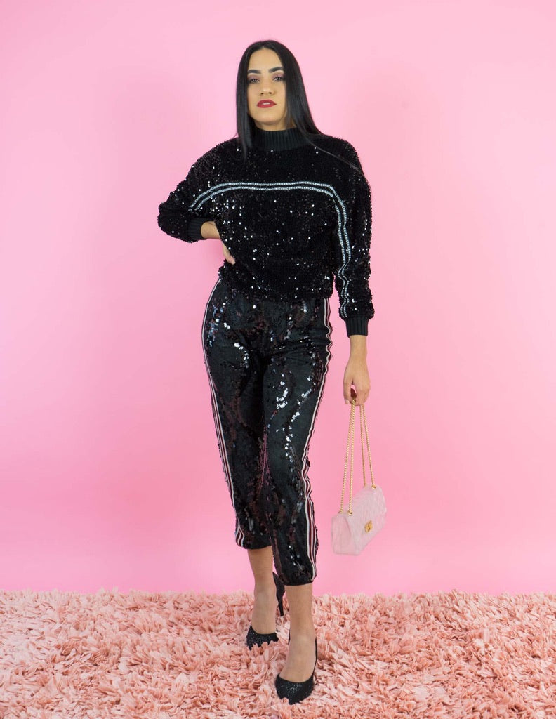 WINTER COLLECTION  All Over Sequin Black Jogger Pants
