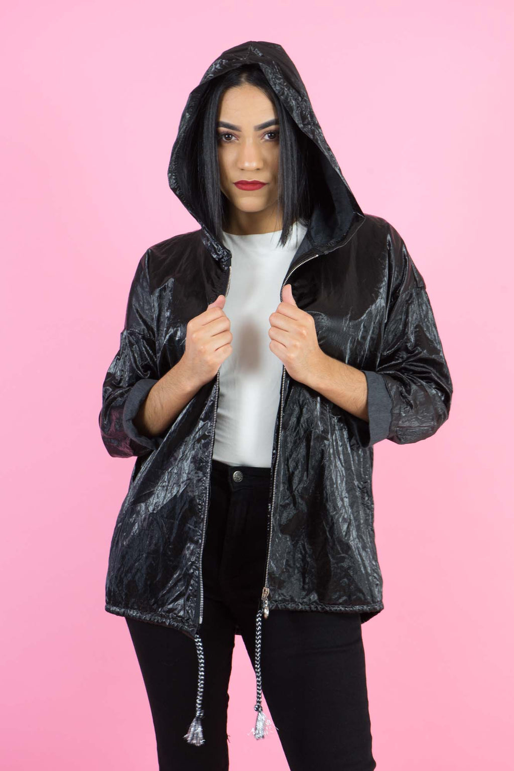 WINTER COLLECTION Black Shine Oversized Jacket