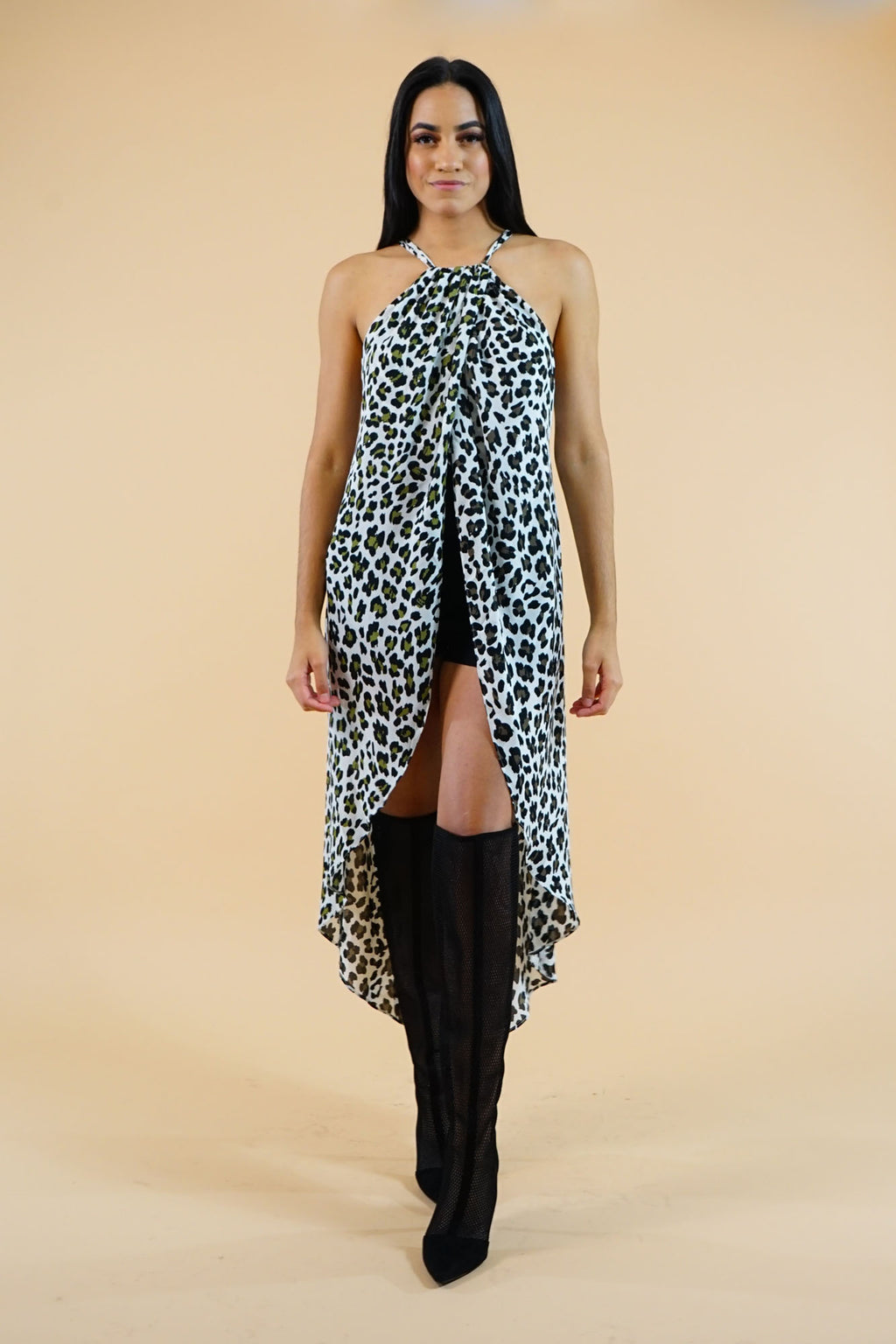WINTER COLLECTION Cheetah Print peacock tail Long Top