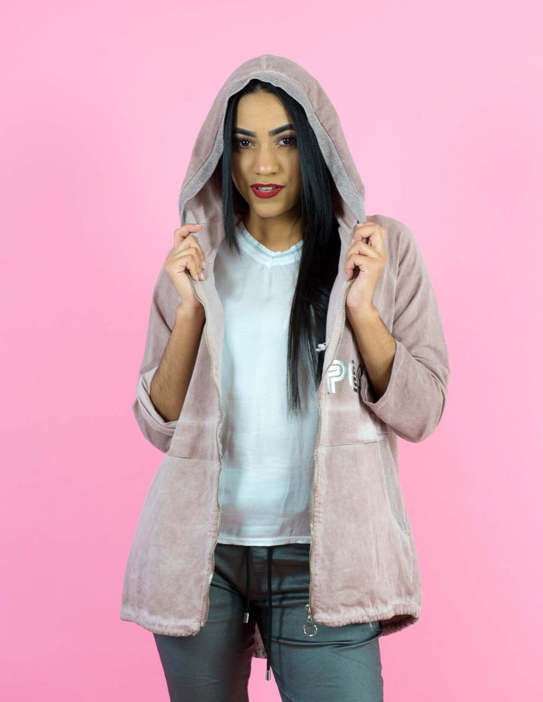 WINTER COLLECTION Dusty Pink Oversized Hooded Jacket