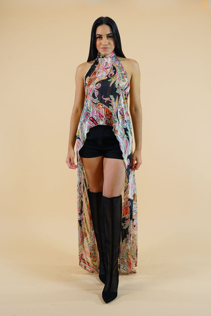 WINTER COLLECTION Halter Peacock Tail Long Top