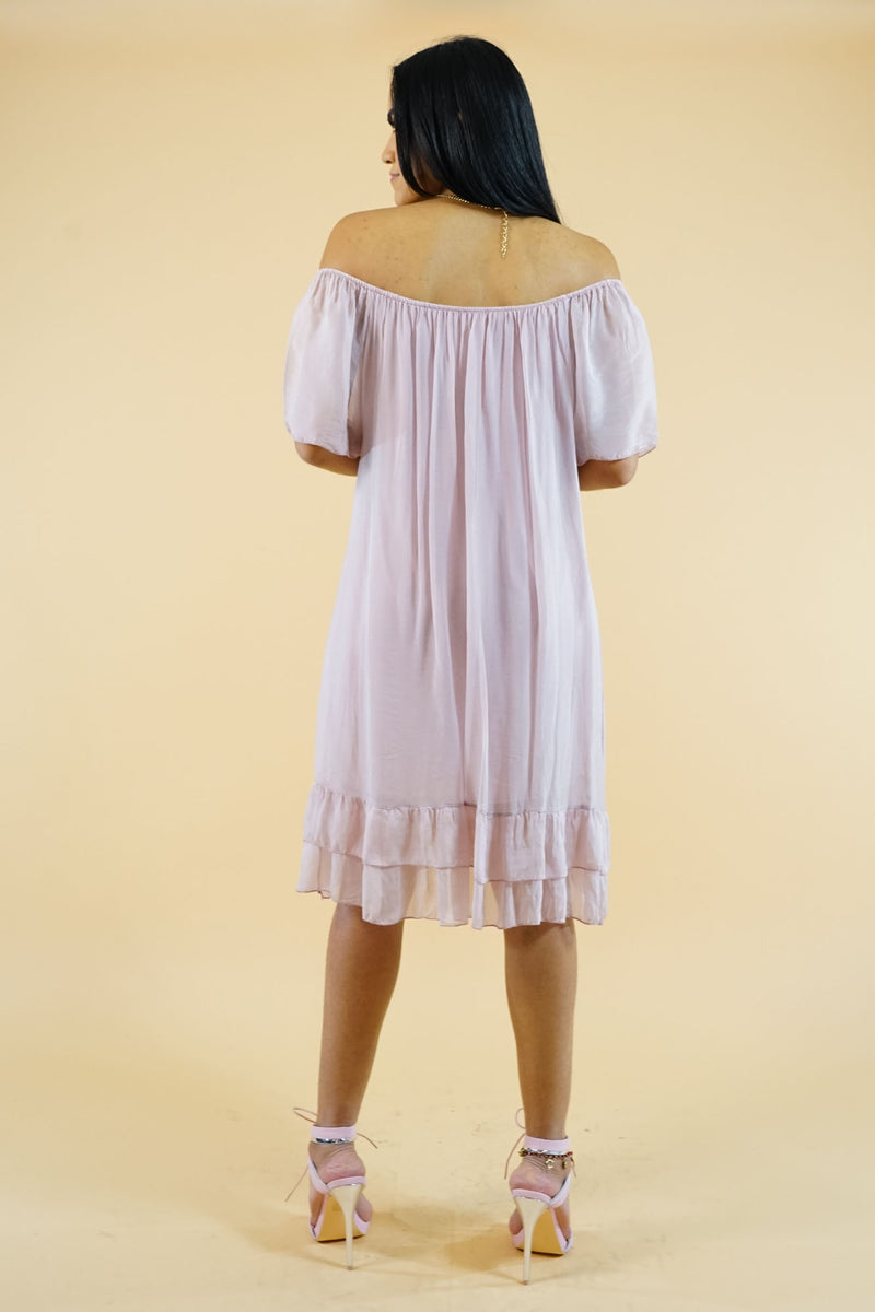 WINTER COLLECTION Off Shoulder Pink Shift Dress