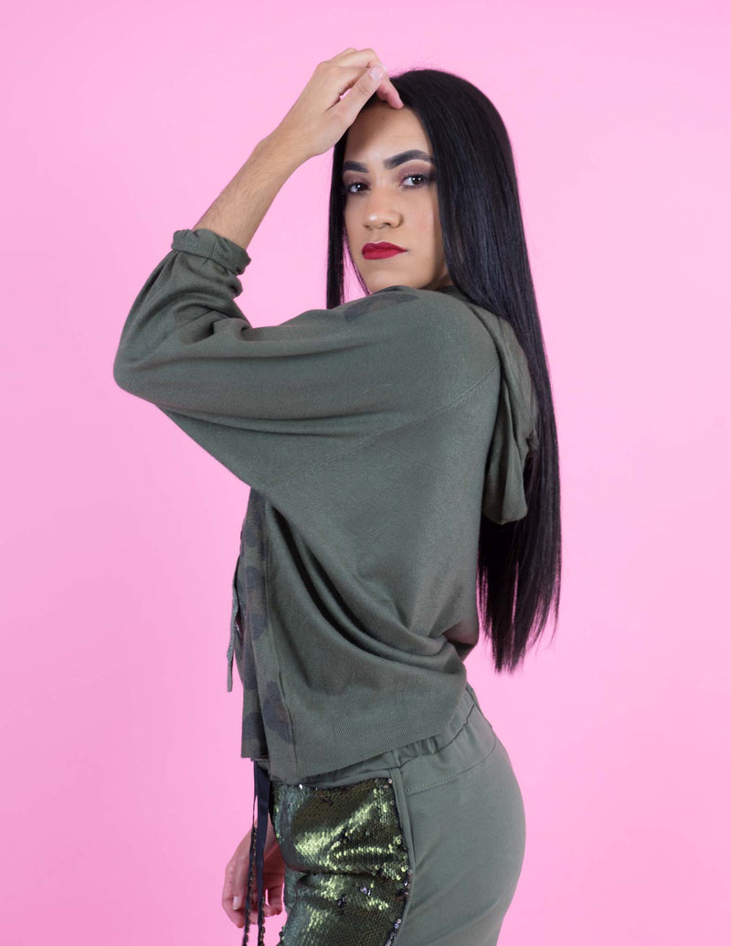 WINTER COLLECTION Olive Green Hodded Sweatshirt