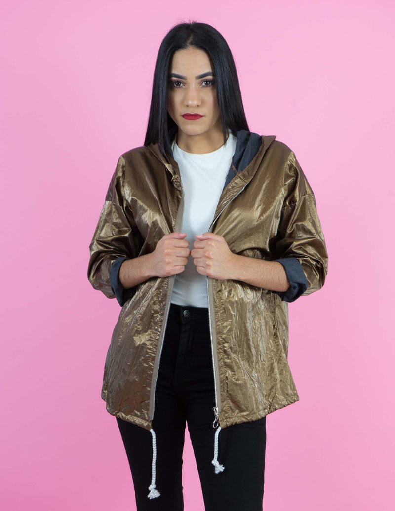 WINTER COLLECTION Rusted Gold Shine Oversized Jacket