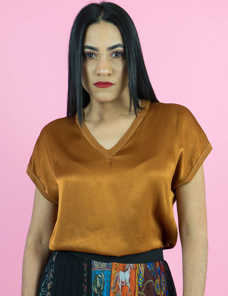 WINTER COLLECTION Rusted Gold V-Neck Top
