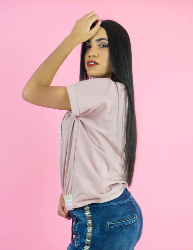 WINTER COLLECTION Short Sleeves Pink Top