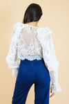 White Long Sleeves Lace Top