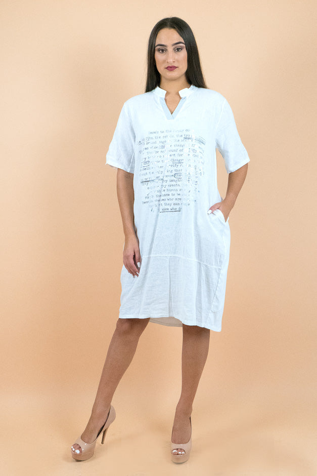 White Short Sleeves Below the Knee Shift Dress