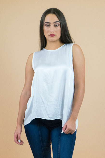 White Sleeveless Silk Top