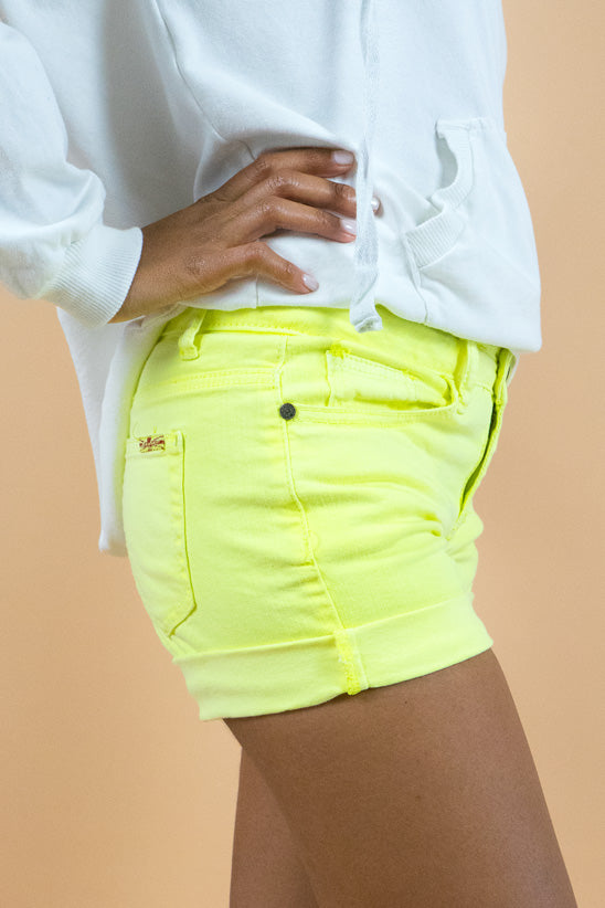 Yellow Neon Denim Shorts