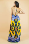 Yellow and Blue Medallion Print Maxi dress and short set