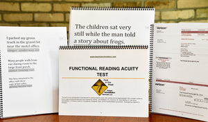 The picture shows various pages from the Functional Reading Acuity Test