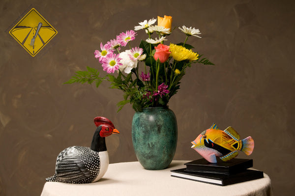 A still life as seen without vision impairment