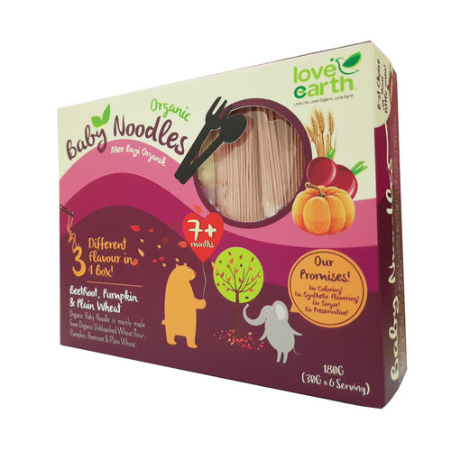 Love Earth Baby Organic Noodle - Beetroot, Pumpkin & Plain (40g x 5 bundles)