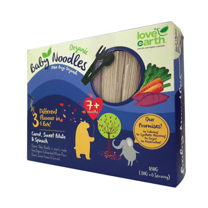 Love Earth Baby Organic Noodle - Carrot, Sweet Potato & Spinach (40g x 5 bundles)