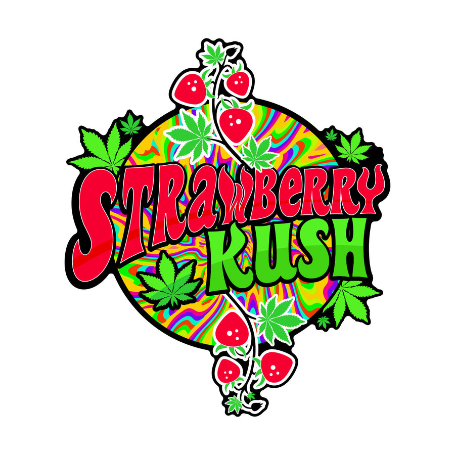 Strawberry Kush Sticker, Grass-Hopper Dispensaries