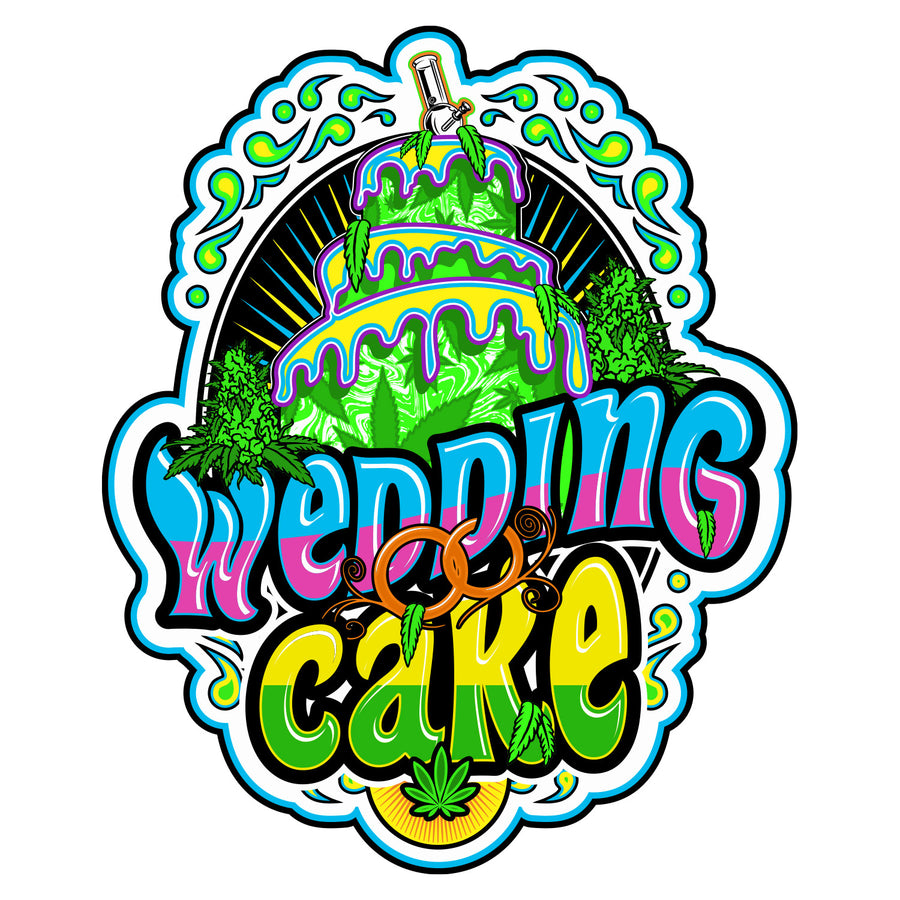 Wedding Cake Sticker, Grass-Hopper Dispensaries