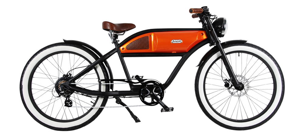 Michael Blast Greaser 500w Electric Bike Cafe Racer - Black/Orange