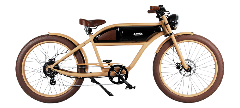 Michael Blast Greaser 500w Electric Bike Cafe Racer - Sand Beige and Black