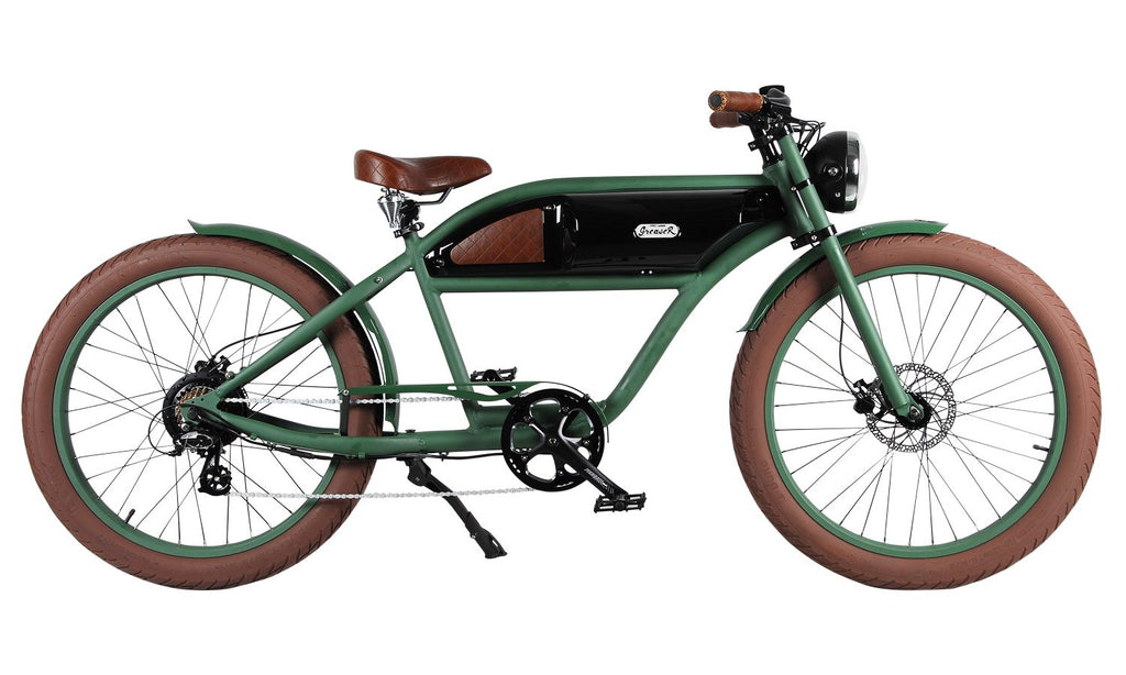 Michael Blast Greaser 500w Electric Bike Cafe Racer - Green/Black
