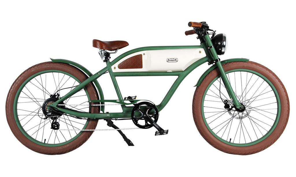 Michael Blast Greaser 500w Electric Bike Cafe Racer - Green/White