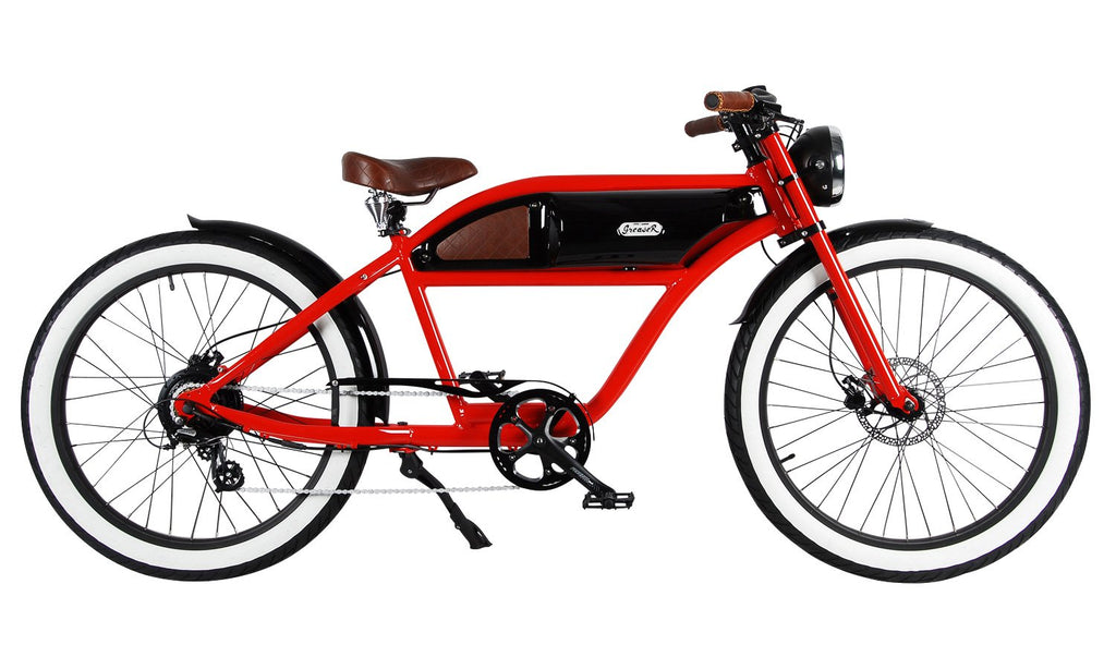 Greaser Electric Bike 500 watt Red Frame and black