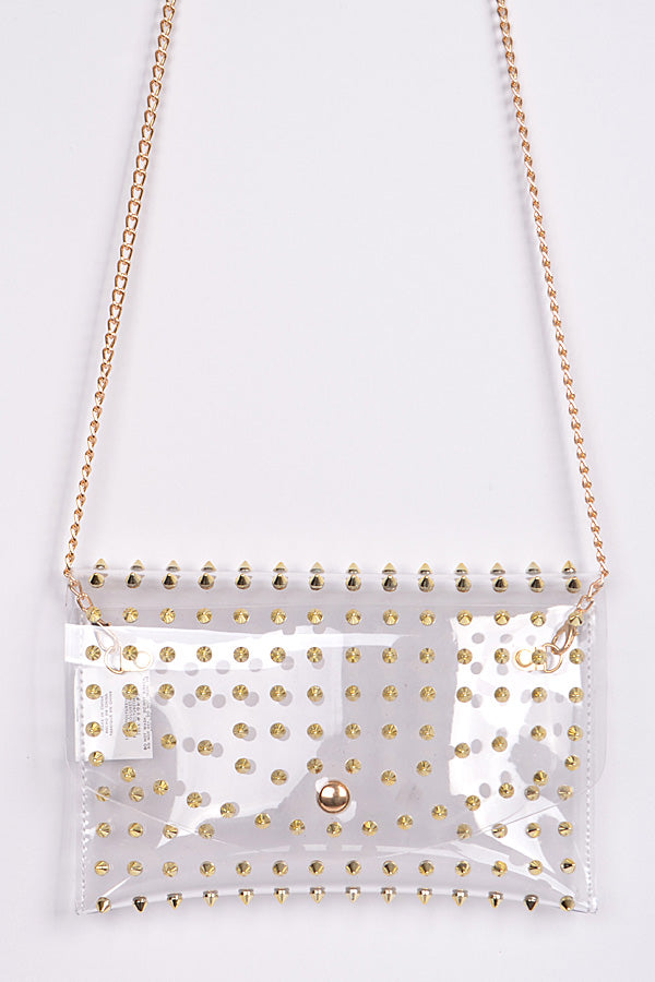 Spiky Gold and Clear Purse - Trendznstuff