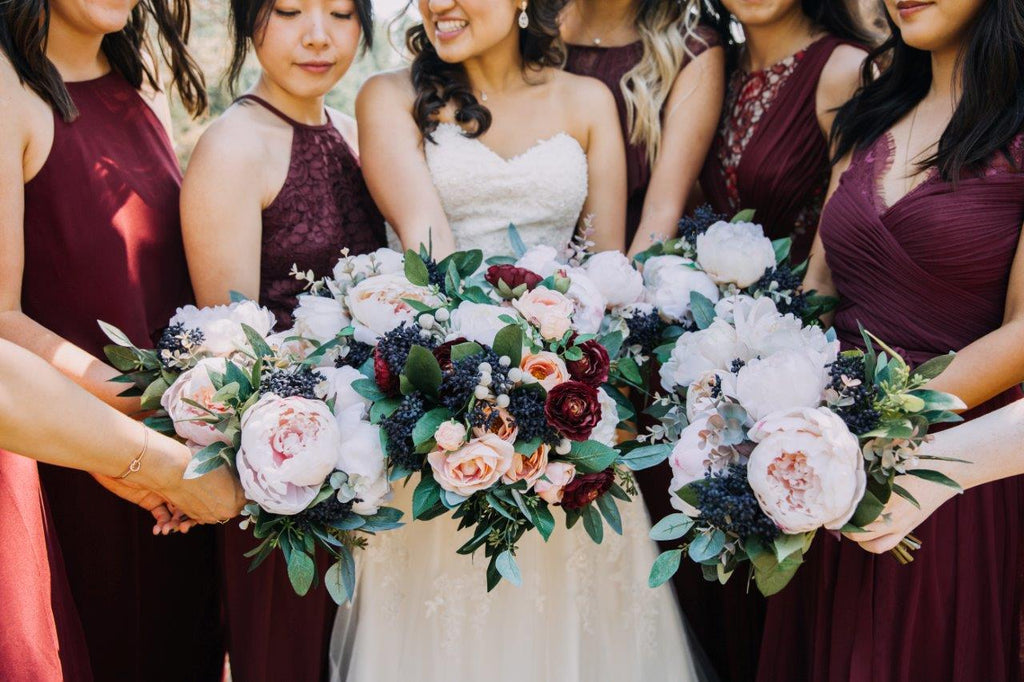 Burgundy_and_Blue_Silk_Flowers_Bridal_Party