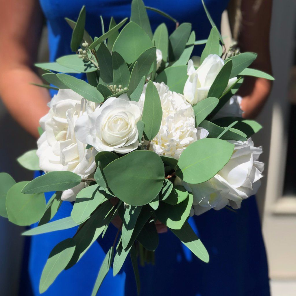 Simple Green White Bridal Bouquet Faux Real Flowers