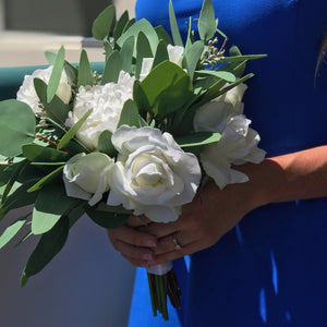 Simple Green & White Bridal Bouquet