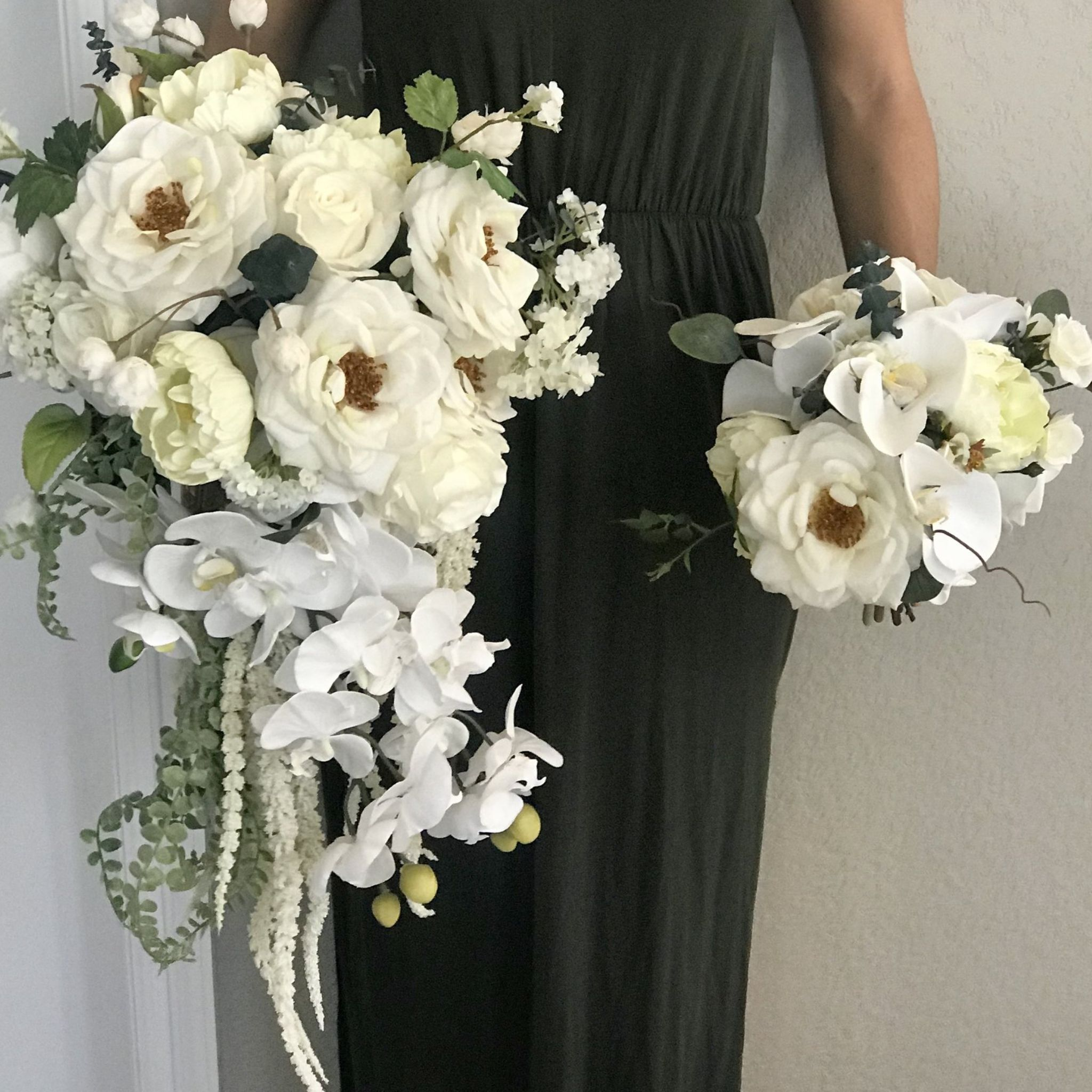Classic White Bridesmaid Bouquet Faux Real Flowers
