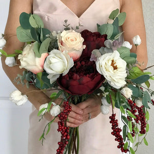 Champagne and Burgundy Bridal Bouquet