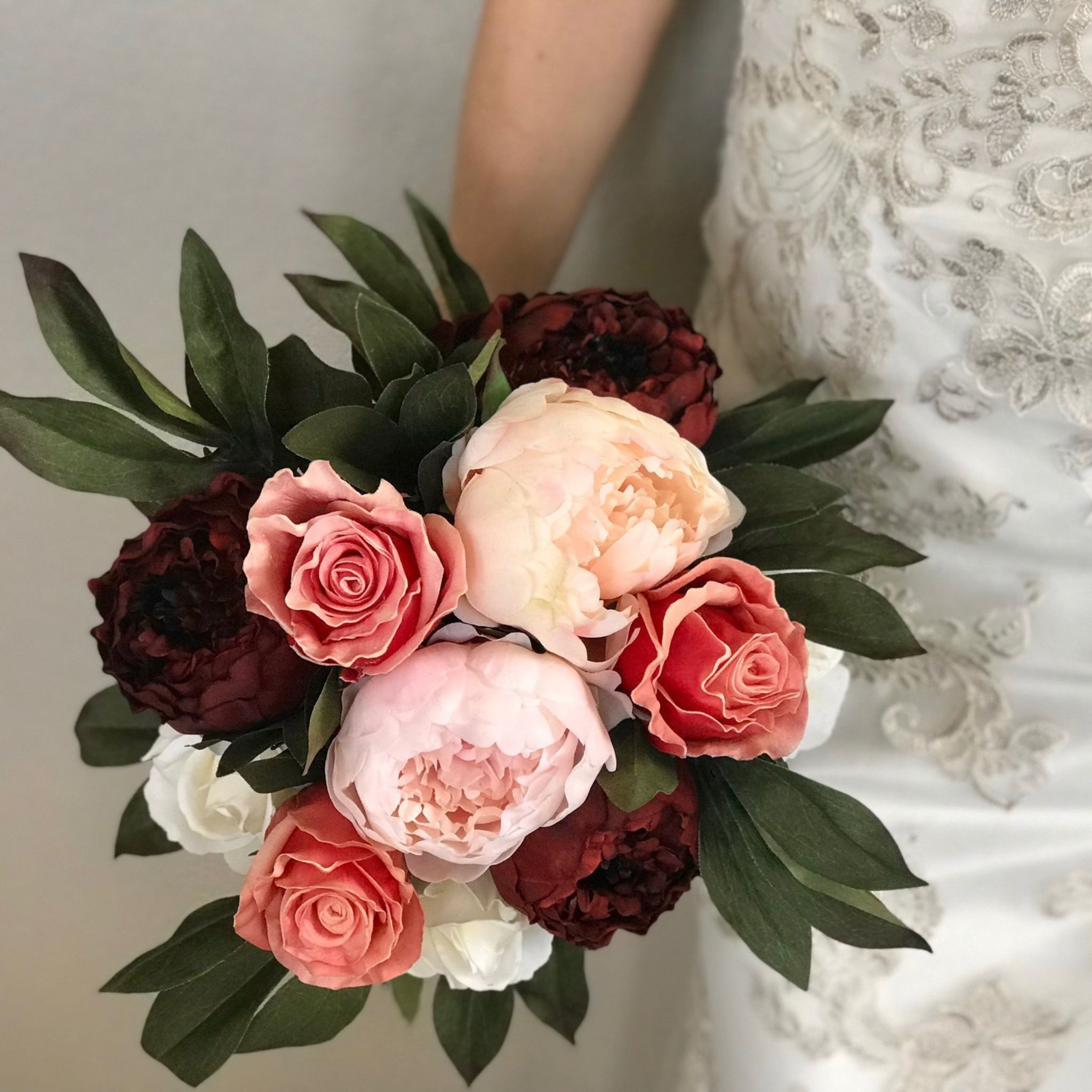 50 Shades of Pink Bridal Bouquet - Faux Real Flowers