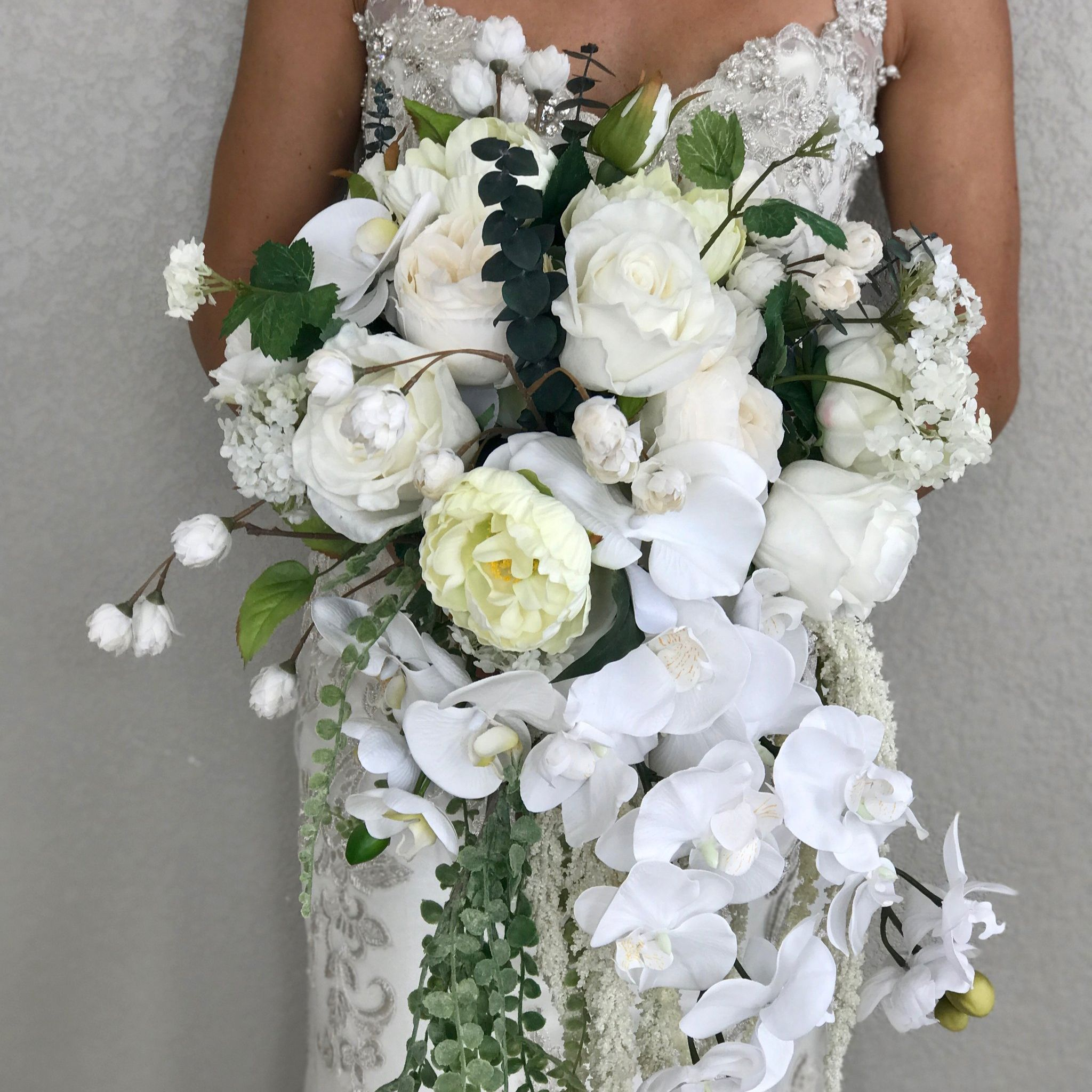 Cascading white bridal bouquet faux real flowers cascading white bridal bouquet faux real flowers mightylinksfo