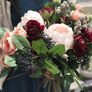 Burgundy & Blue Bridal Bouquets