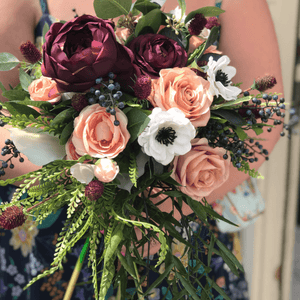 Coral & Burgundy Bridal Bouquet
