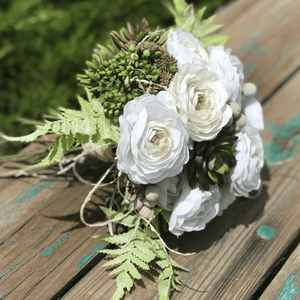 White & Succulent Bridal Bouquet