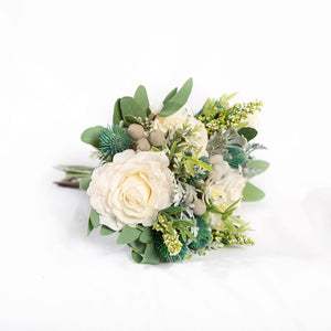 Silk Bouquet White and green - Bridesmaid