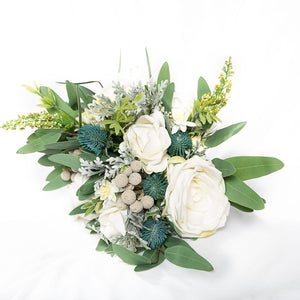 Silk Bouquet White and green - Medium