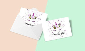 50 Colorful Thank You Note Card with Pink Unicorn Horn and White Rose Design and Blank Greeting Space