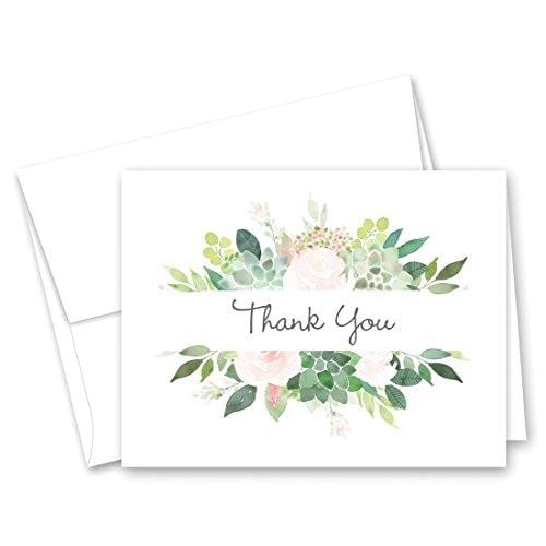 Elegant Succulent and Roses Border Thank You Cards with Envelopes