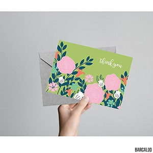 36 Blank Flower Thank You Cards