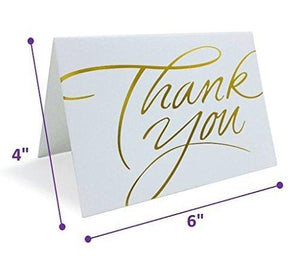 Thank You Cards Pack of 100 With Envelopes White With Gold Hot Stamped Greeting cards