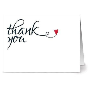 Heart Felt Thank You - 36 Thank You Note Cards