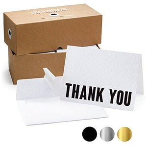 100 Letterpress Thank You Cards and Self Seal Envelopes.