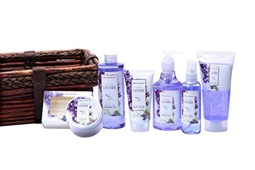 Green Canyon Spa Luxury Wicker Basket Gift Set in Lavender