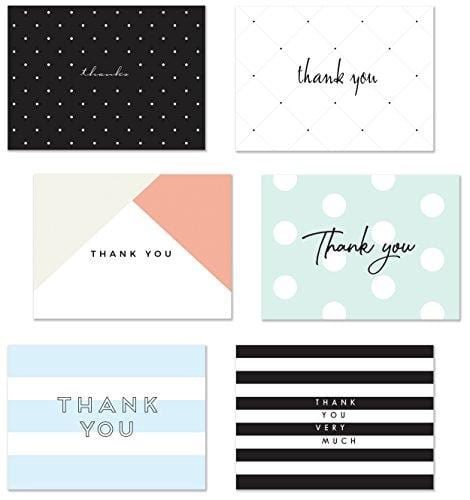 54 Thank You Flat Note Cards